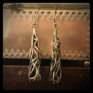 💐NWT:925 Sterling Silver Long Abstract Earrings💐